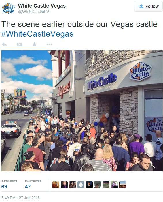 White Castles Las Vegas Grand Opening hundreds waiting in line