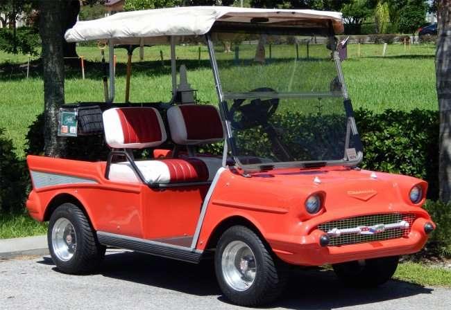 1957 Chevy Bel-Air Club Car security golf cart in Kings Point, Sun City Center, FL/photonews247.com
