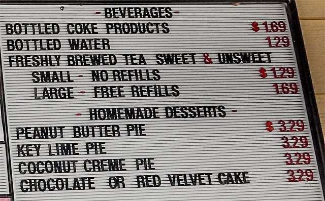 Beverage and Homemade Dessert Menu for The Fish House, in Ruskin, FL