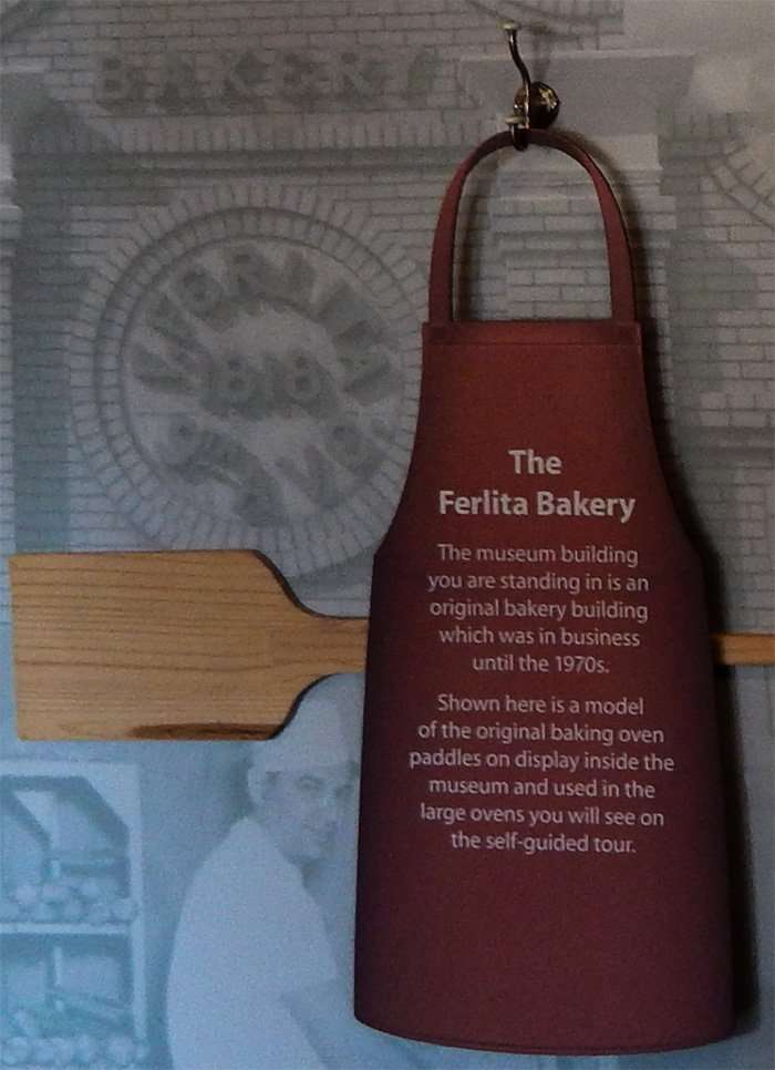 Ferlita Bakery apron with history written on it at Ybor City Museum/ 2015 photonews247.com