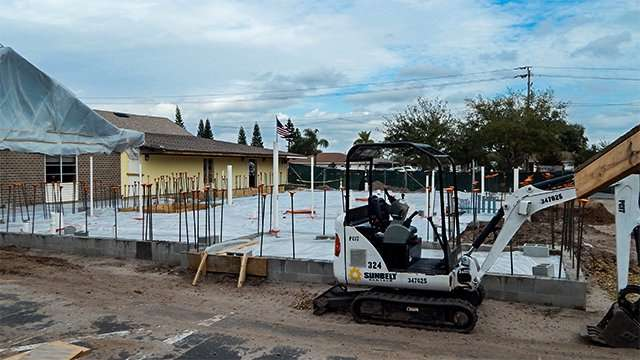 February 17, 2015 - Foundation poured for Ed building at Trinity Babtist Church in Sun City Cneter, FL