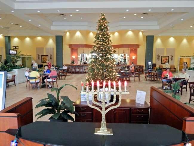 Menorah and Christmas Tree at KPCL at Kings Point Clubhouse Sun City Center Florida/photonews247.com