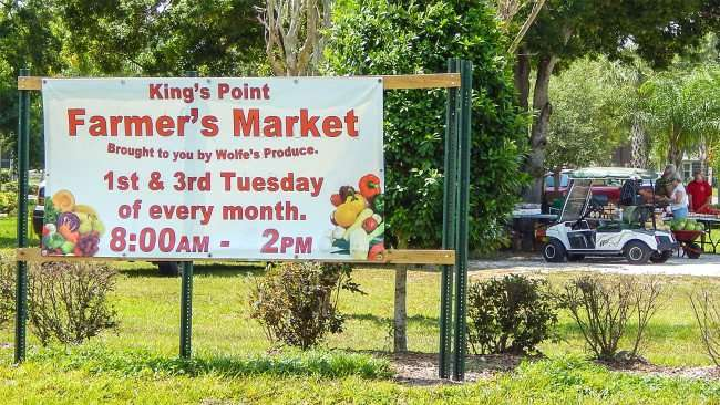 Produce Market road sign for Kings Point Market