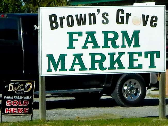 Sign Browns Grove Farm Market Dakin Farm Fresh Milk Sold Here, Parrish FL