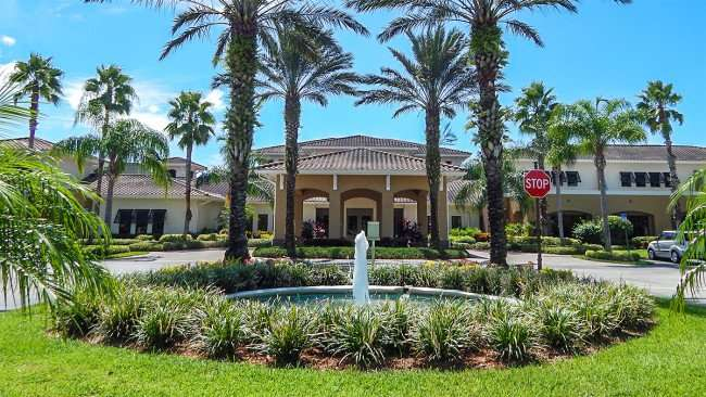 Water fountain on driveway at South Clubhouse in Kings Point, Sun City Center, FL/photonews247.com