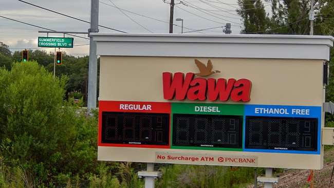 June 11, 2015 - Wawa LED sign not working on Summerfield Crossing Blvd and US 301, Riverview, FL