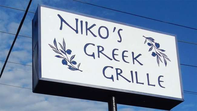 Nikos Greek Grille restaurant sign Ruskin, FL