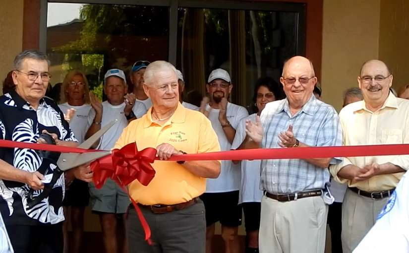 Jim Haggerty (L) with Wayne Musholte (R) in yellow shirt at Ribbon Cutting Ceremony 2015, Kings Point, Sun City Center, FL/2015 photonews247.com
