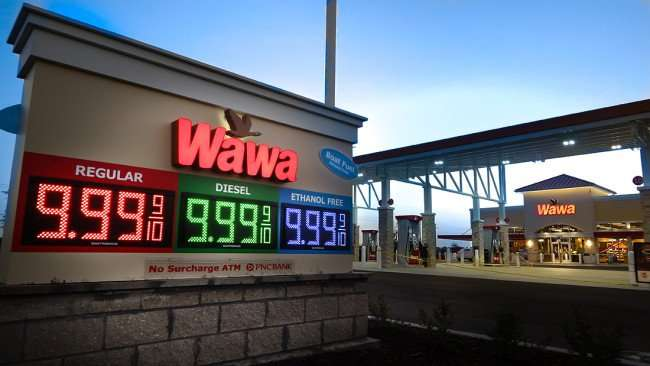 July 9, 2015 - The Wawa Riverview sign defaults to gas prices at $9.99 before actual price is displayed on opening day on July 9, 2015 on Summerfield Crossing Blvd, Riverview SouthShore, FL