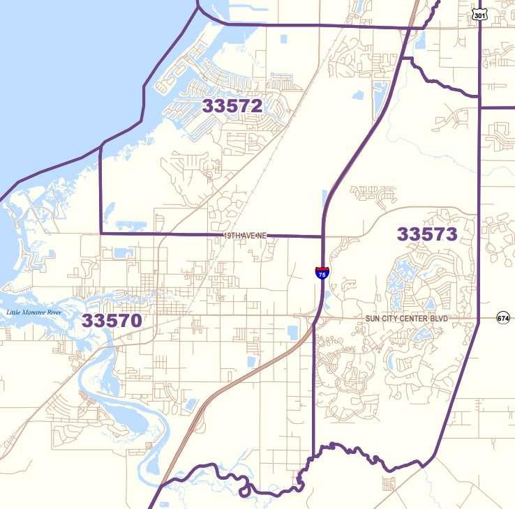 33573 Zip Code Boundaries For Sun City Center Fl Http Www