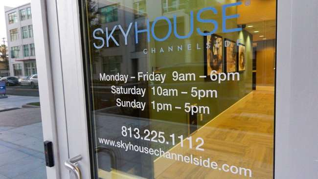 July 14, 2015 - Front door of SKYHOUSE CHANNELSIDE luxury apartments in downtown Tampa, FL
