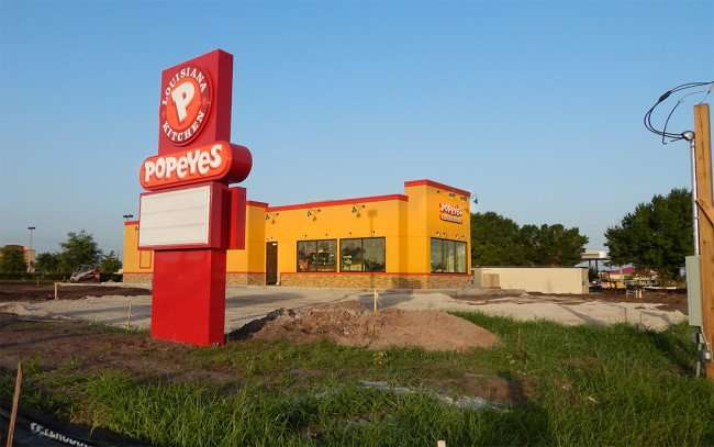 July 3, 2015 - New Popeyes sign on Big Bend built July 2, 2015, Riverview SouthShore, FL