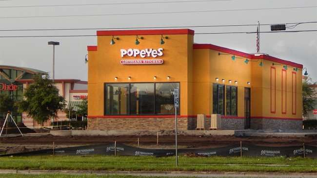June 30, 2015 - Construction update Popeyes Chicken Louisiana Kitchen on Big Bend in Riverview SouthShore, FL
