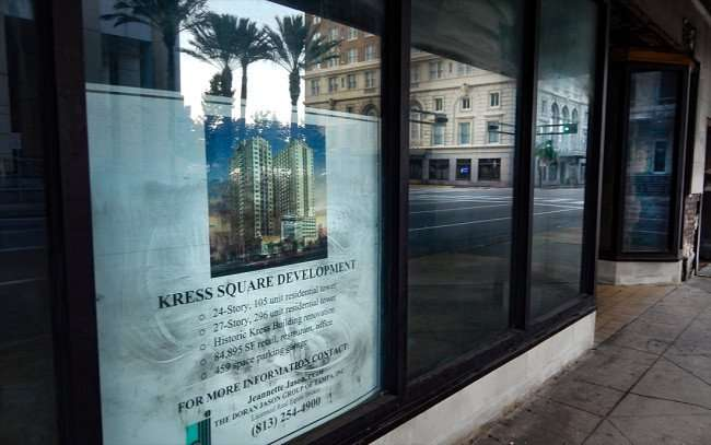 JULY 26, 2015 - Kress Square Developement rendering with specs on Kress building window in Downtown Tampa, FL/photonews247.com