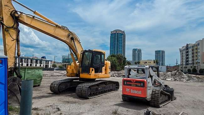 April 19, 2015 - Luxury apartment construction site on 11th and Kennedy in Channel District Downtown Tampa, FL
