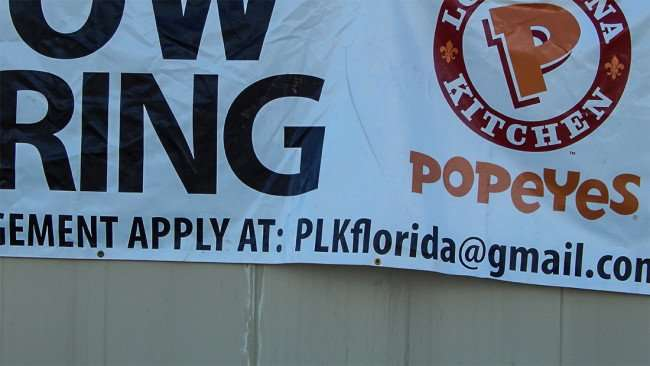 AUG 23, 2015 - Now Hiring Popeyes Chicken Sun City Center, FL/photonews247.com