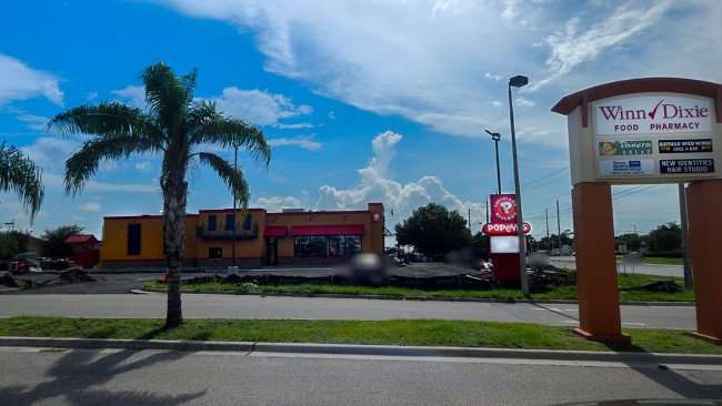 JULY 22, 2015 - Popeyes Chicken construction site with Winn Dixie sign in view on Big Bend Rd in Riverview Southshore FL
