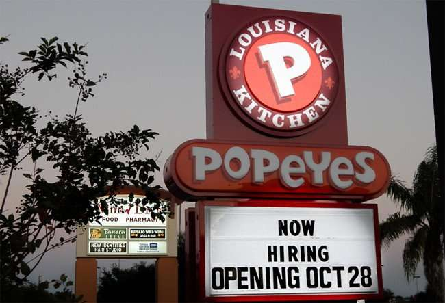OCT 14, 2015 - Popeyes Chicken opening Oct 28, 2015 on Big Bend, Riverview, FL/photonews247.com