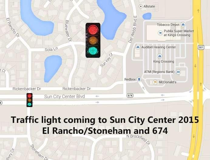 New traffic light being installed this summer on Sun City Center Blvd (SR 674) at El Rancho/Stoneham Dr/2015 copyright Google