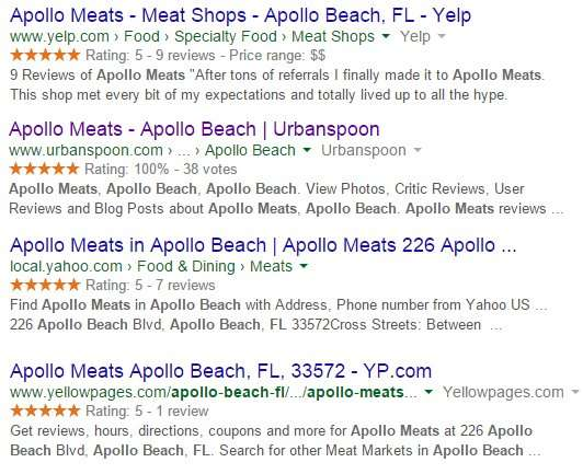 Apollo Meats 5-star rating on Yelp, Urban Spoon, Yahoo and Yellow pages in Apollo Beach FL