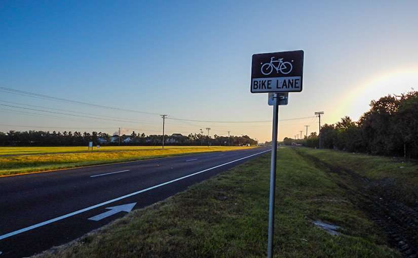MAY 8, 2015 Bike Lane road sign on US 41 in Apollo Beach, South Shore, FL/photonews247.com