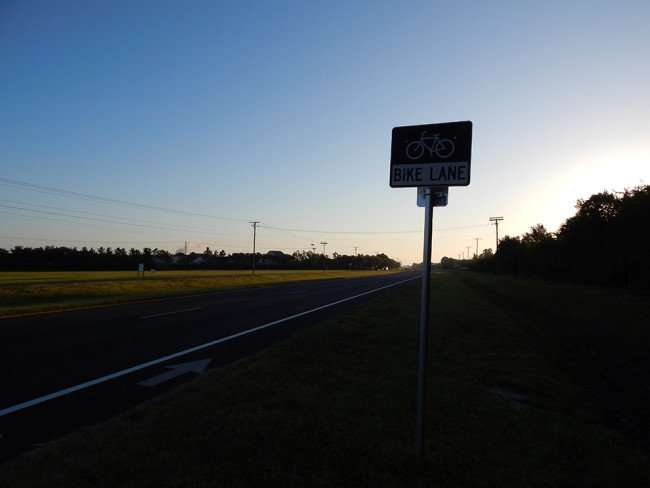MAY 8, 2015: Bike Lane road sign on US 41 in Apollo Beach, South Shore/photonews247.com