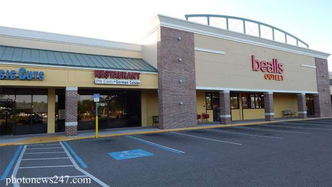 May 4, 2015: Old Castle German Restaurant in Cypress Plaza strip mall early in the morning before opening in Ruskin, FL/2015 photonews247.com