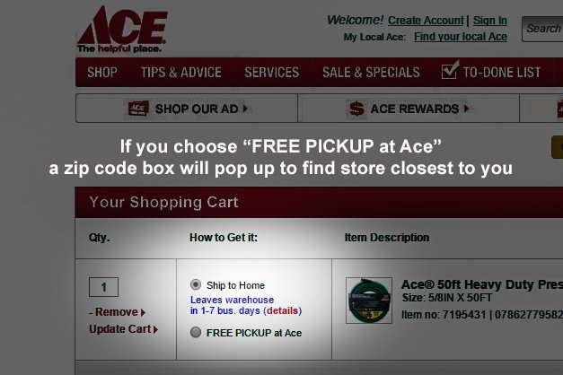 How to order online with free pickup at Ace Hardware Sun City Center FL