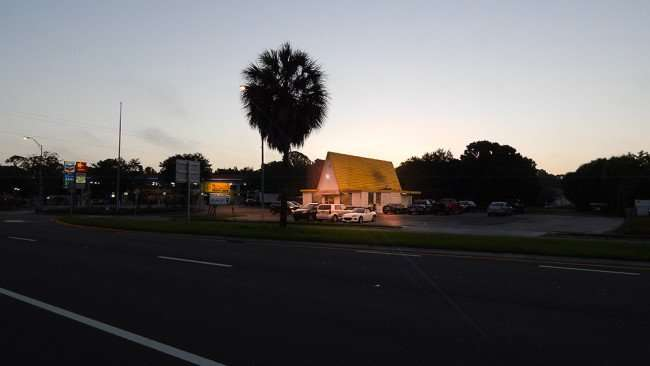 June 15, 2015 - Grannys Restaurant early morning with lights on Tamiami Trail in South Shore Ruskin, FL