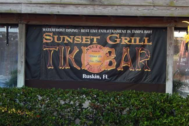 MAY 10, 2015: Banner - Sunset Grill Tiki Bar Ruskin, FL / Photo News 247