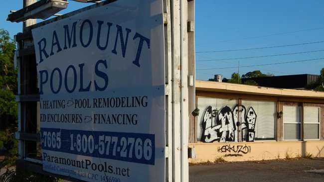 MAY 10, 2015: LAF graffiti painted on delapitated Paramount Pools buidling in Ruskin South Shore, FL/Photo News 247