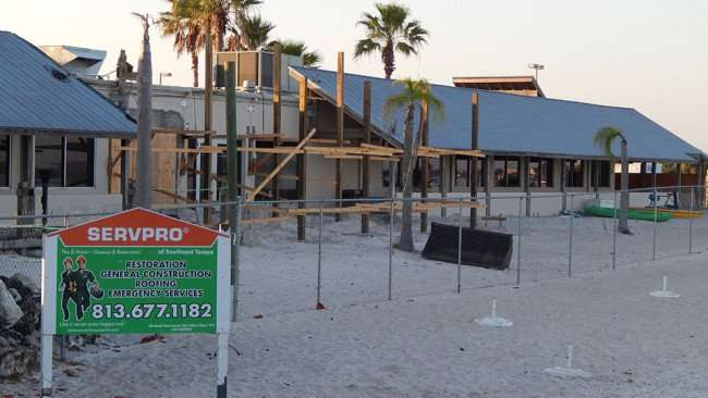 MAY 10, 2015: SERVPRO construction site at private beach at Sunset Grille in Little Harbor, Ruskin South Shore, FL / Photo News 247