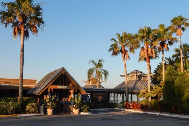 MAY 10, 2015: Entrance to Sunset Loung and Tiki Bar in Little Harbor, Ruskin South Shore, FL / Photo News 247