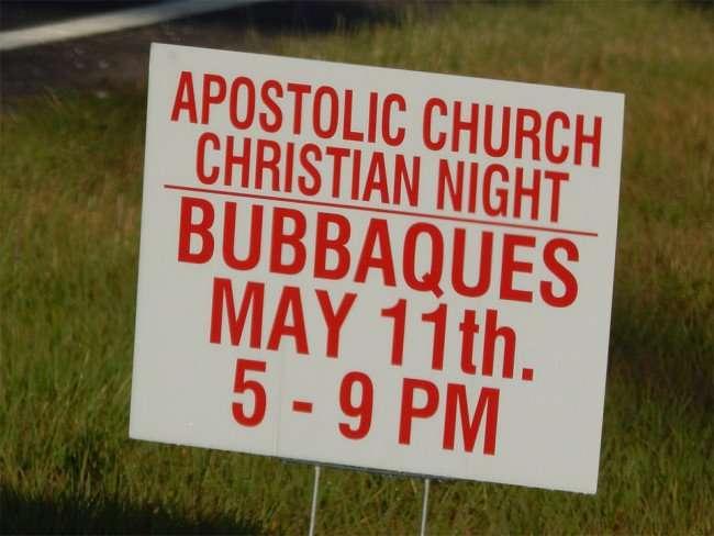 MAY 13, 2015 - APOLSTOLIC CHURCH CHRISTIAN NIGHT at Bubbaques May 11 5-9pm, Sun City Center