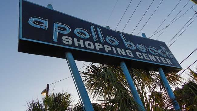 MAY 13, 2015 - Sign along US-41 that reads apollo beach SHOPPING CENTER