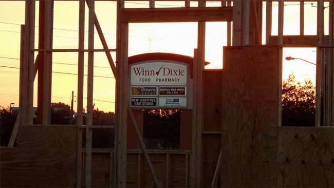 MAY 14, 2015 - Wooden frame at construction site of Popeyes at Winn Dixie on 10551 Big Bend, Riverview South Shore, FL