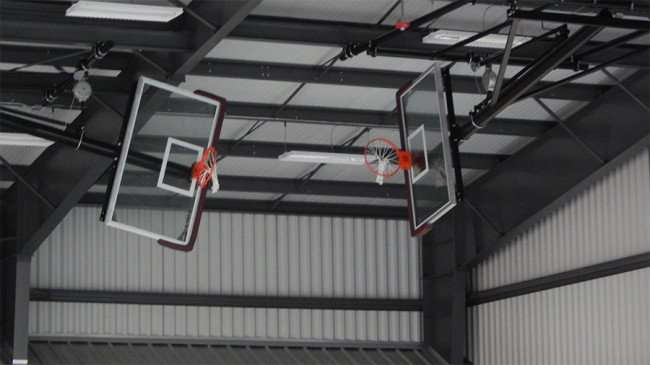 MAY 15, 2015 - Basketball hoops on ceiling at The Family Y at Big Bend, Gibsonton, FL