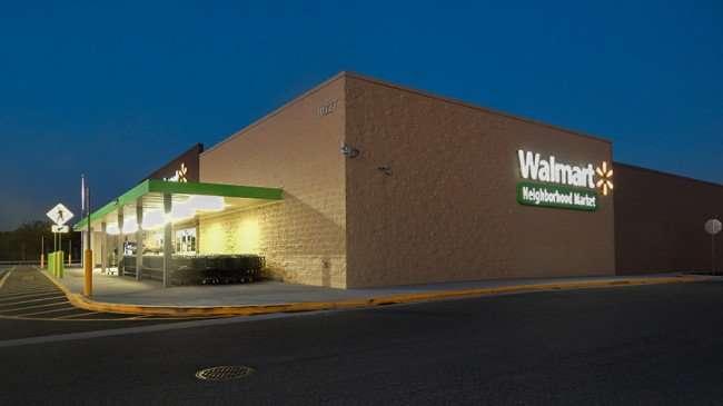 MAY 16, 2015 - Corner view of Walmart Neighborhood Market at dawn Riverview South Shore, FL