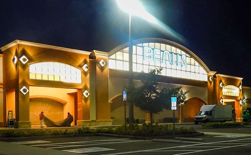 MAY 16, 2015 - Lights on at Bealls before opening in Summerfield Crossing shopping center Riverview South Shore, FL