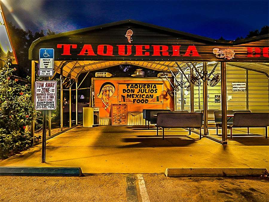 MAY 16, 2015 - TAQUERIA DON JULIOS authentic mexican food with outside dining on US 301, Riverview South Shore, FL (animated with Adobe Lightroom)