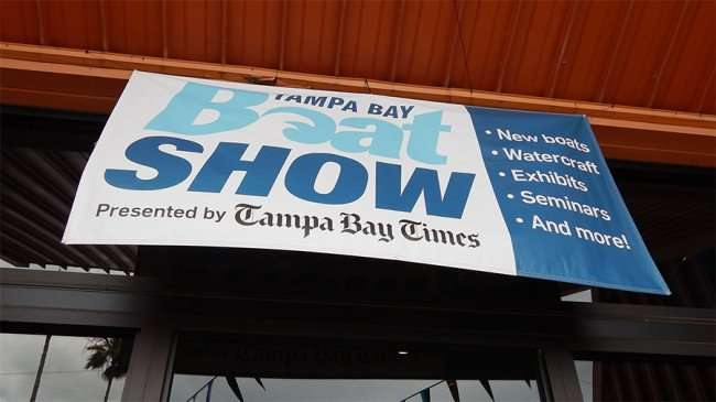 MAY 17, 2015 - Banner Tampa Bay Boat Show presented by Tampa Bay Times on Expo Hall, Florida State Fairgrounds