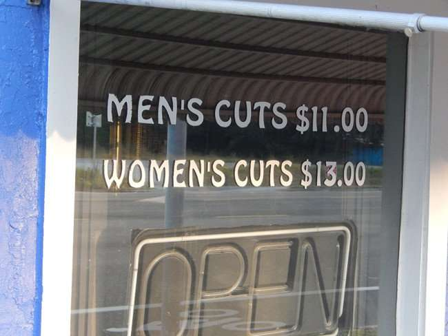 MAY 17, 2015 - Barber Salon, haircuts for men 11 dollars, women 13 dollars on Us 41, Ruskin South Shore, FL 813 645-1227