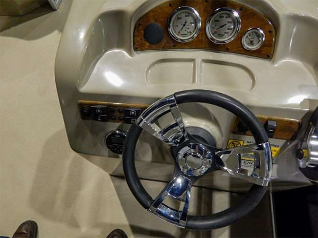 MAY 17, 2015 - Dashboard and steering wheel of Bentley luxury pontoon boat at Tampa Bay Boat Show 2015