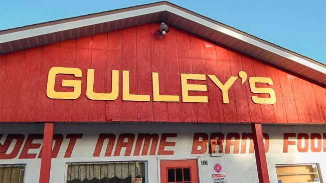 MAY 17, 2015 - Facade of Gulleys Surplus Grocery on 720 US-41, Ruskin South Shore, FL