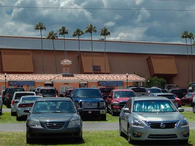 MAY 17, 2015 - In $6 parking lot with Expo Hall at a distance at the Tampa Bay Boat Show 2015