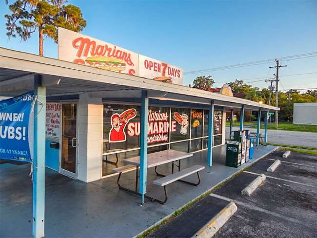 MAY 17, 2015 - Marian's Submarine Sandwich shop early morning in Ruksin South Shore, FL