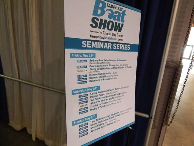 MAY 17, 2015 - Poster inside Expo Hall displaying correct dates for Tampa Bay Boat Show 2015