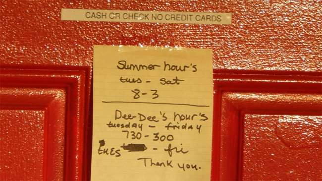 MAY 17, 2015 - Summer Hours for South Shore Barber: Tues-Sat 8-3, Dee-Dee's hours: Tue-Fri 730-3