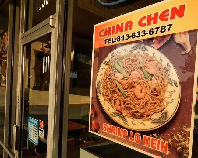 MAY 18, 2015 - Shrimp Lo Mein at China Chen Chinese restaurant in Kings Crossing, Sun City Center, FL