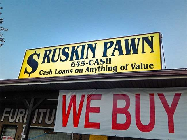 MAY 18, 2015 - Sign Ruskin Pawn 645-CASH, cash loans on anything of value